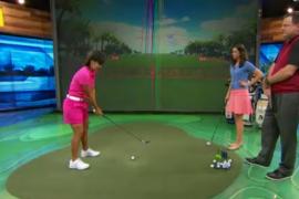 Julieta Granada showing the step drill on Golf Channel